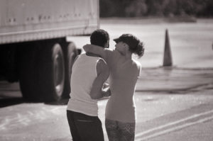 Woman Welcomes Trucker Home